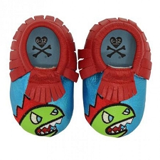 Itzy Ritzy Moc Happens Leather Baby Moccasins - Tokidoki Kaiju
