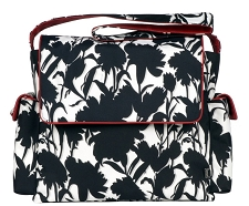 OiOi Black and White Floral Messenger