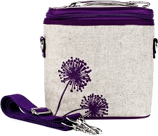 SoYoung Raw Linen Large Cooler Bag - Purple Dandelion