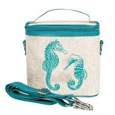SoYoung Raw Linen Small Cooler Bag - Aqua Seahorses