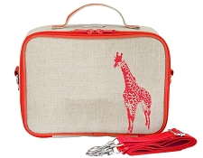 SoYoung Raw Linen Lunch Box - Neon Orange Giraffe