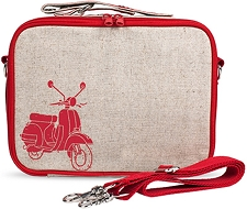 SoYoung Raw Linen Lunch Box - Red Vespa Scooter