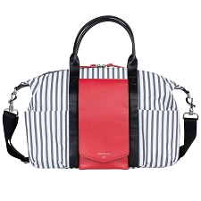 TWELVElittle Peek-A-Boo Satchel Diaper Bag - Stripe Red
