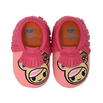 Itzy Ritzy Moc Happens Leather Baby Moccasins - Tokidoki Donutella