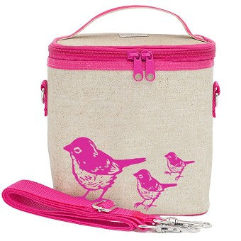 SoYoung Raw Linen Small Cooler Bag - Pink Birds