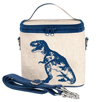 SoYoung Raw Linen Small Cooler Bag - Blue Dino