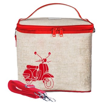 SoYoung Raw Linen Small Cooler Bag - Red Vespa