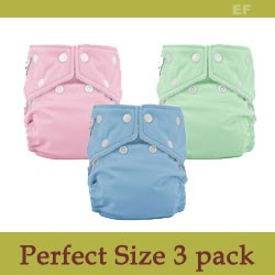 FuzziBunz Perfect Size Diaper Sample Package - 3 Pack - Old Colors
