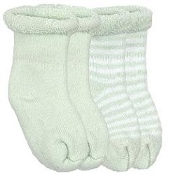 Kushies Terry Newborn Socks - 2 Pairs