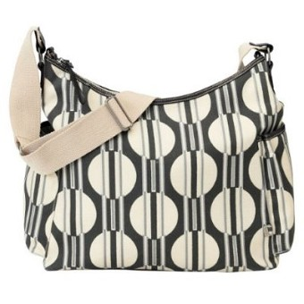 OiOi Dark Grey/Sand Dot Stripe Hobo Diaper Bag