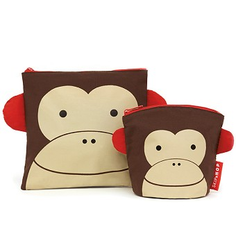 Skip Hop Zoo Reusable Sandwich and Snack Bag Set - Monkey